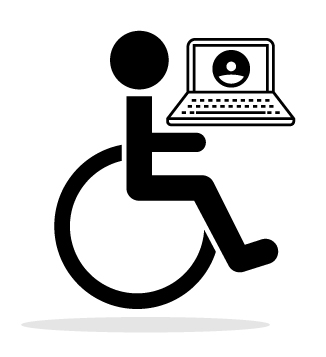 web accessible logo showing a person looking at a website with a laptop