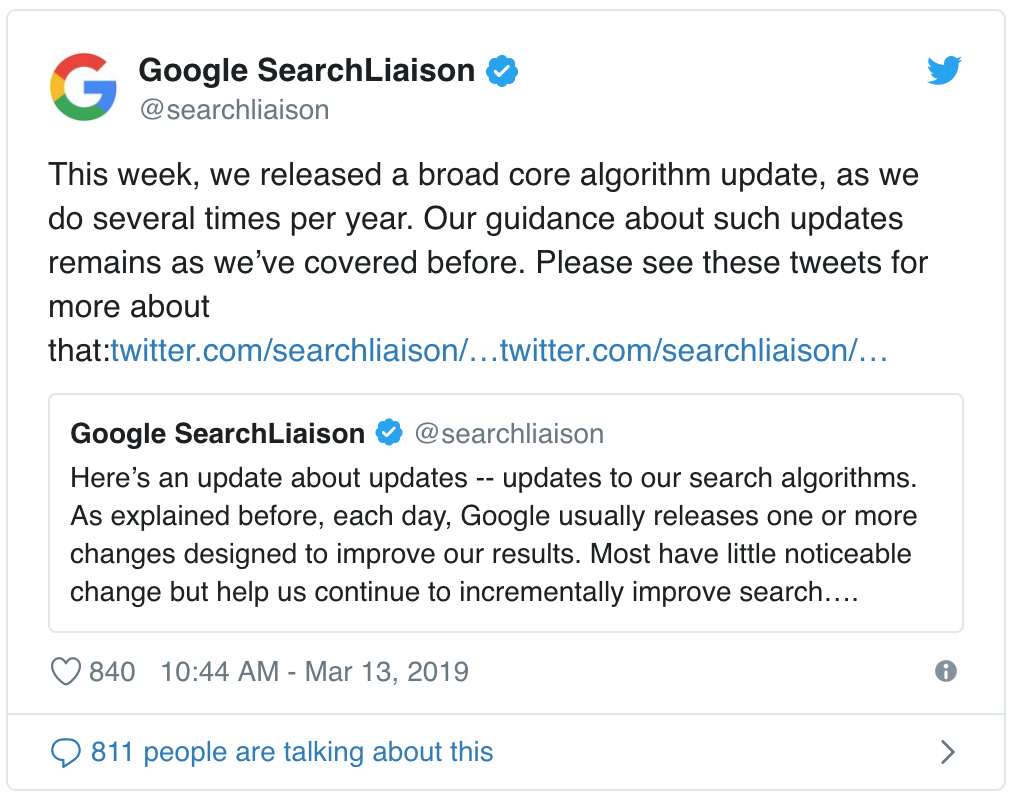 Google Core Algorithm Update impact on SEO CRO